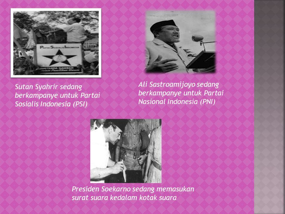 Ali Sastroamijoyo sedang berkampanye untuk Partai Nasional Indonesia (PNI)