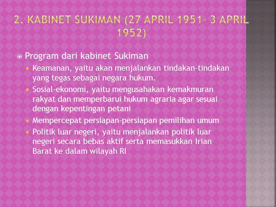 2. Kabinet Sukiman (27 April 1951– 3 April 1952)