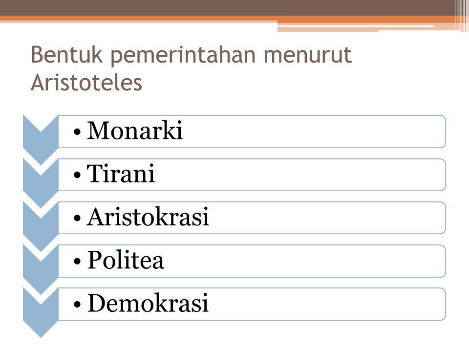 Bentuk pemerintahan menurut Aristoteles