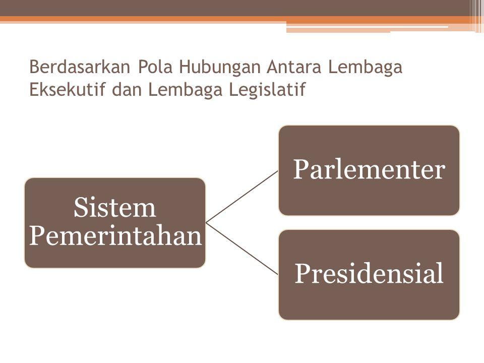 Berdasarkan Pola Hubungan Antara Lembaga Eksekutif dan Lembaga Legislatif