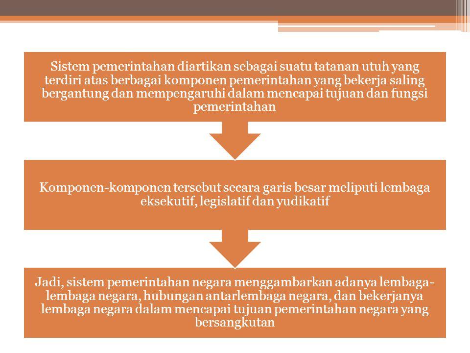 Sistem pemerintahan diartikan sebagai suatu tatanan utuh yang terdiri atas berbagai komponen pemerintahan yang bekerja saling bergantung dan mempengaruhi dalam mencapai tujuan dan fungsi pemerintahan