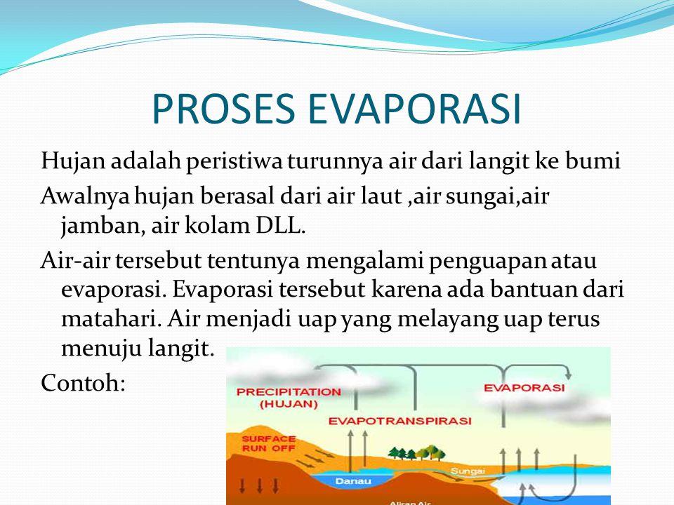 PROSES EVAPORASI Hujan adalah peristiwa turunnya air dari langit ke bumi. Awalnya hujan berasal dari air laut ,air sungai,air jamban, air kolam DLL.