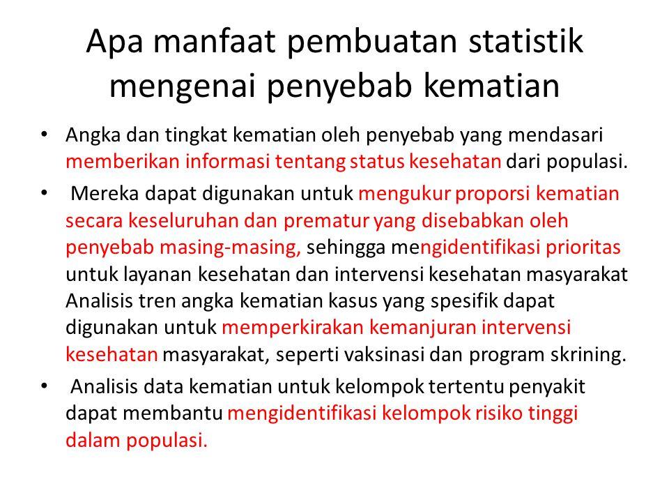 Apa manfaat pembuatan statistik mengenai penyebab kematian