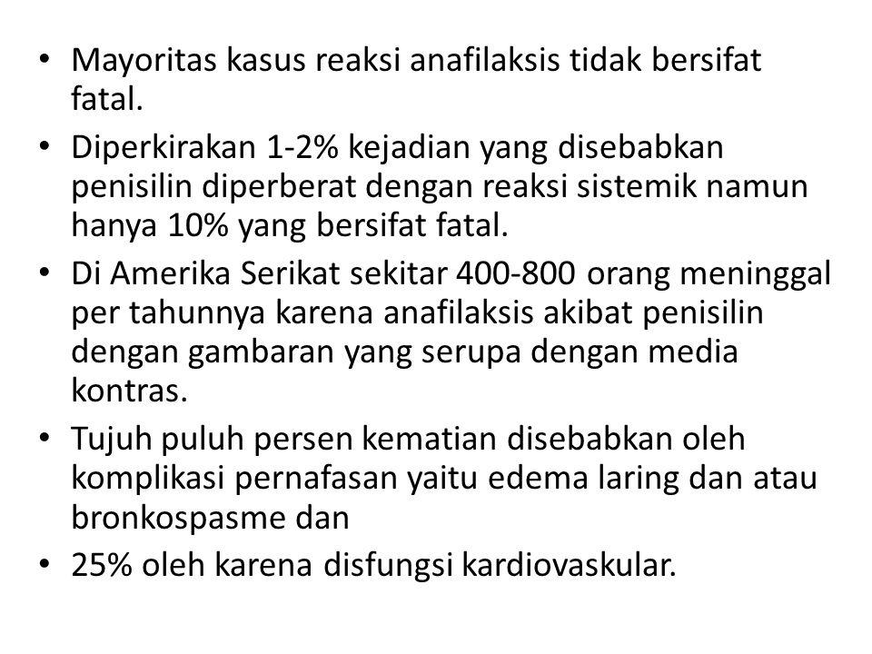 Mayoritas kasus reaksi anafilaksis tidak bersifat fatal.