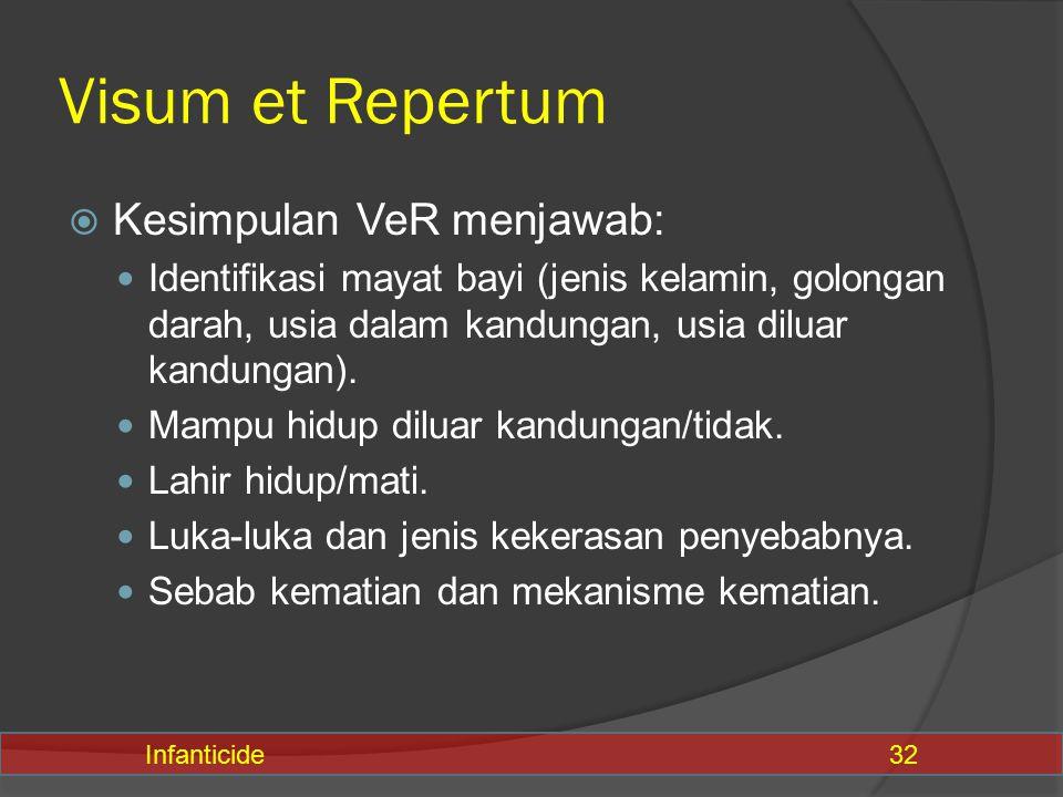 Visum et Repertum Kesimpulan VeR menjawab: