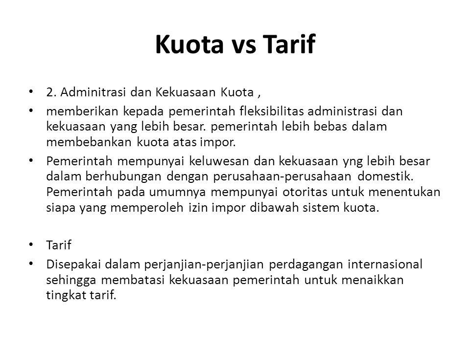 Kuota vs Tarif 2. Adminitrasi dan Kekuasaan Kuota ,