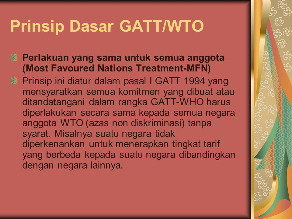 Prinsip Dasar GATT/WTO