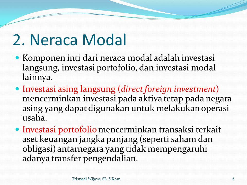 2. Neraca Modal Komponen inti dari neraca modal adalah investasi langsung, investasi portofolio, dan investasi modal lainnya.