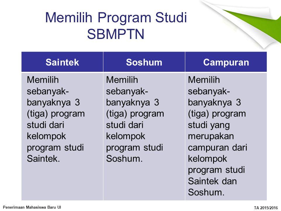 Memilih Program Studi SBMPTN