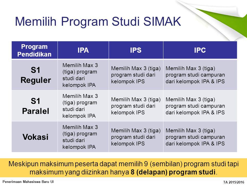 Memilih Program Studi SIMAK