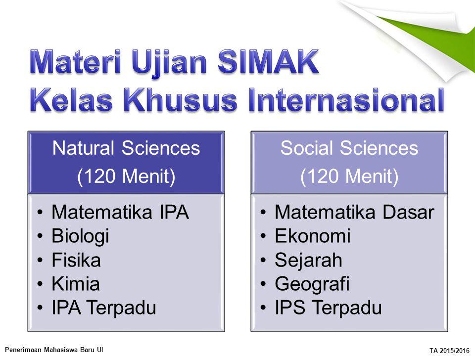 Materi Ujian SIMAK Kelas Khusus Internasional