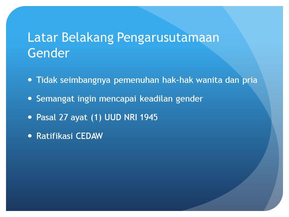 Latar Belakang Pengarusutamaan Gender