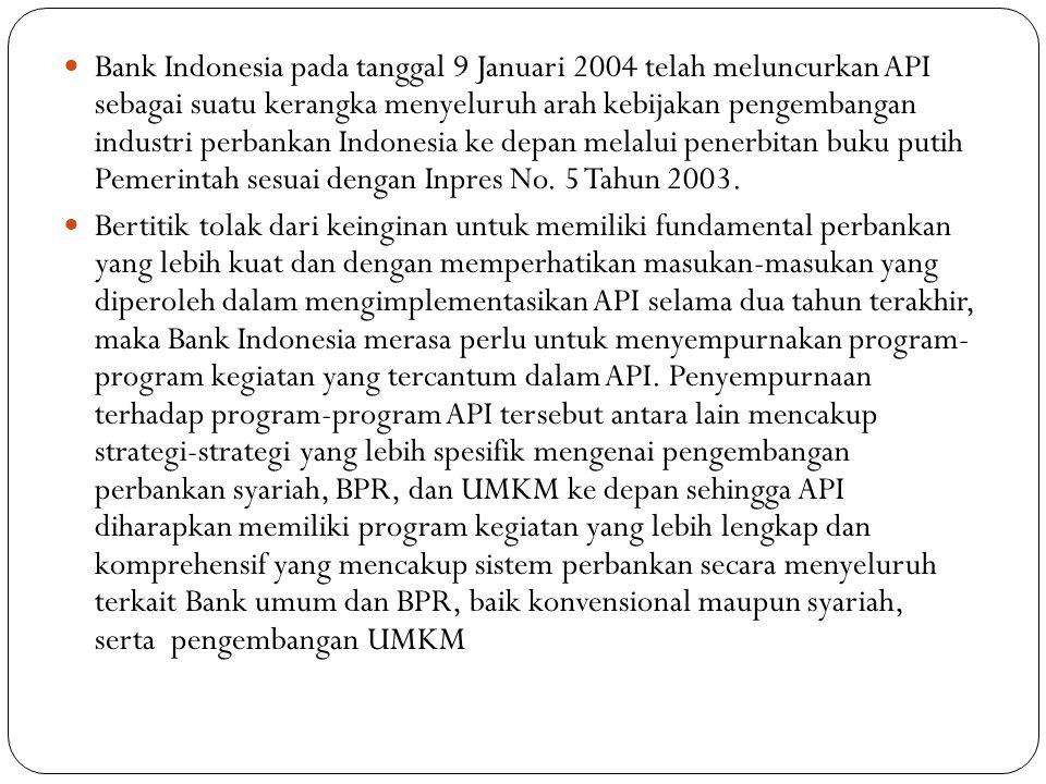 Bank Indonesia pada tanggal 9 Januari 2004 telah meluncurkan API sebagai suatu kerangka menyeluruh arah kebijakan pengembangan industri perbankan Indonesia ke depan melalui penerbitan buku putih Pemerintah sesuai dengan Inpres No. 5 Tahun 2003.