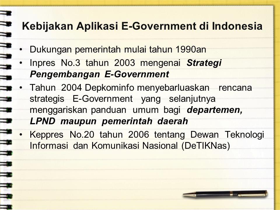 Kebijakan Aplikasi E-Government di Indonesia