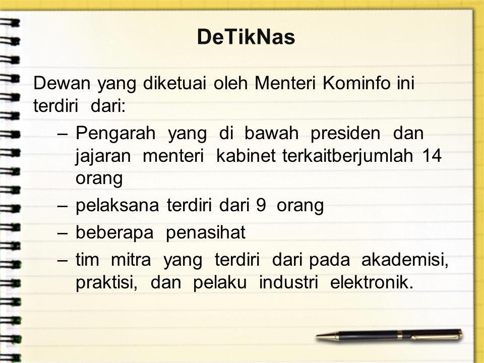 DeTikNas Dewan yang diketuai oleh Menteri Kominfo ini terdiri dari: