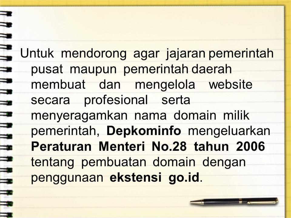 Untuk mendorong agar jajaran pemerintah pusat maupun pemerintah daerah membuat dan mengelola website secara profesional serta menyeragamkan nama domain milik pemerintah, Depkominfo mengeluarkan Peraturan Menteri No.28 tahun 2006 tentang pembuatan domain dengan penggunaan ekstensi go.id.