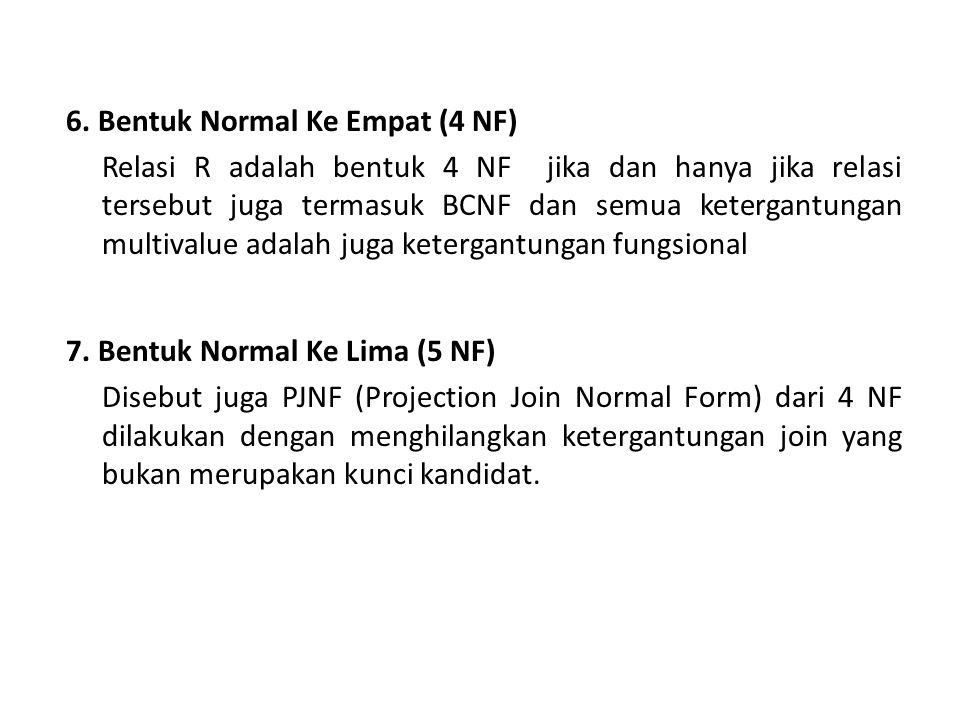 6. Bentuk Normal Ke Empat (4 NF)