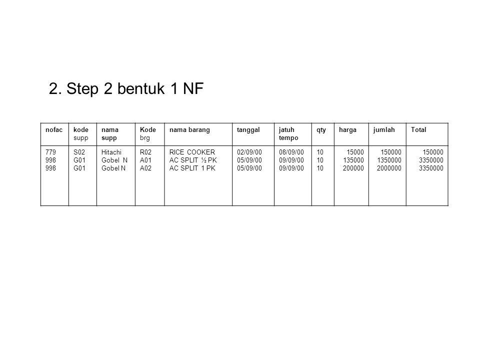 2. Step 2 bentuk 1 NF nofac kode supp nama Kode brg nama barang