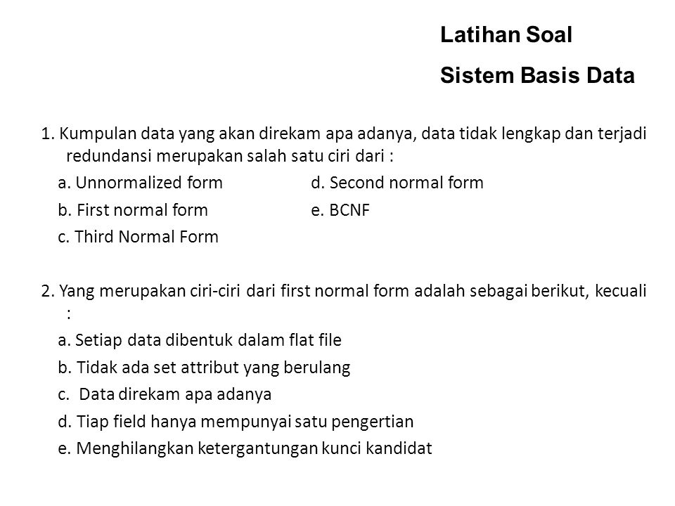 Latihan Soal Sistem Basis Data