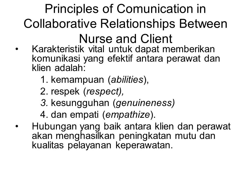 Principles of Comunication in Collaborative Relationships Between Nurse and Client