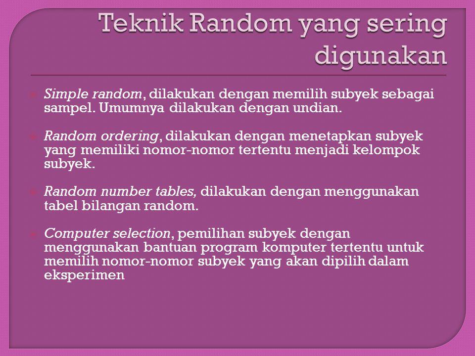 Teknik Random yang sering digunakan