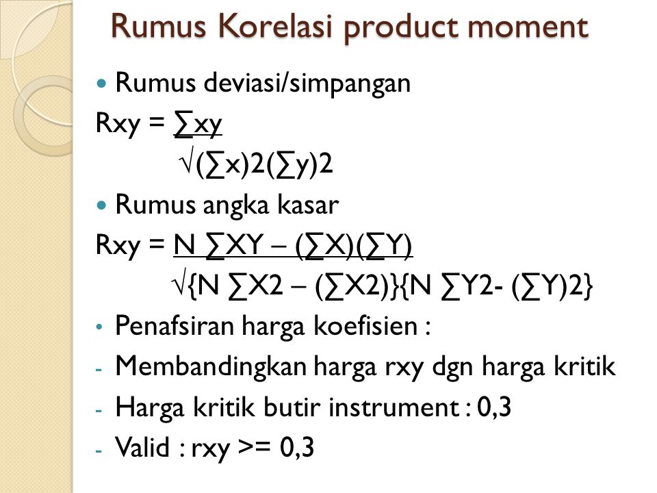 Rumus Korelasi product moment