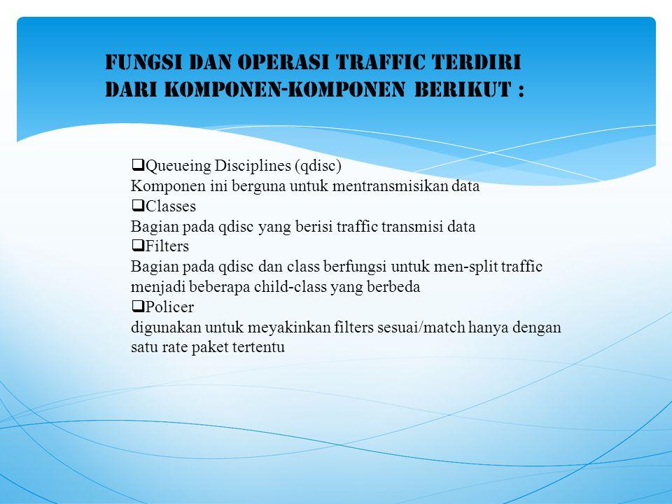 Fungsi dan operasi traffic terdiri dari komponen-komponen berikut :