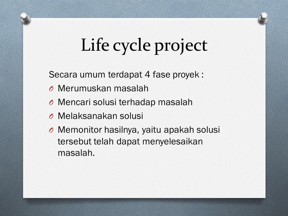 Life cycle project Secara umum terdapat 4 fase proyek :