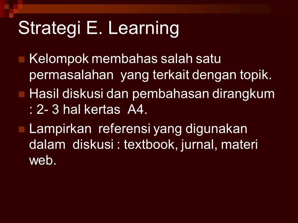 Strategi E. Learning Kelompok membahas salah satu permasalahan yang terkait dengan topik.