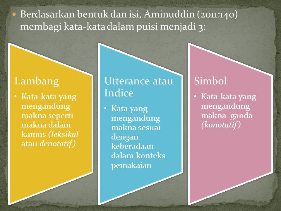 Berdasarkan bentuk dan isi, Aminuddin (2011:140) membagi kata-kata dalam puisi menjadi 3:
