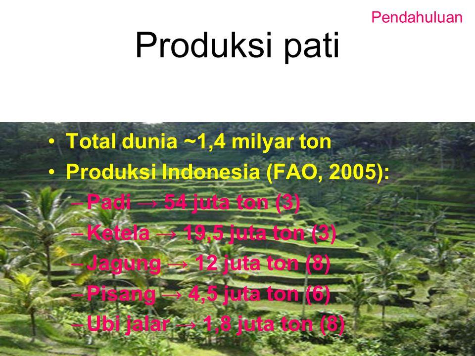 Produksi pati Total dunia ~1,4 milyar ton