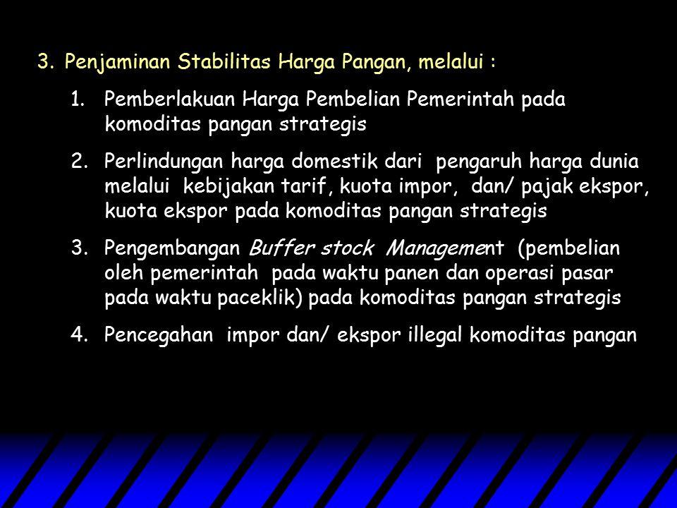 Penjaminan Stabilitas Harga Pangan, melalui :
