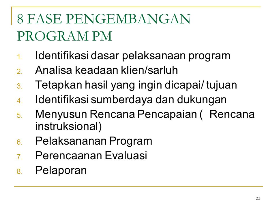 8 FASE PENGEMBANGAN PROGRAM PM