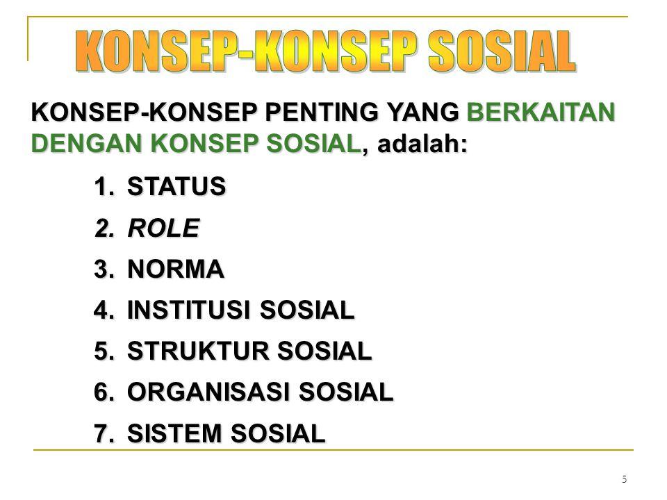 KONSEP-KONSEP SOSIAL KONSEP-KONSEP PENTING YANG BERKAITAN DENGAN KONSEP SOSIAL, adalah: STATUS. ROLE.