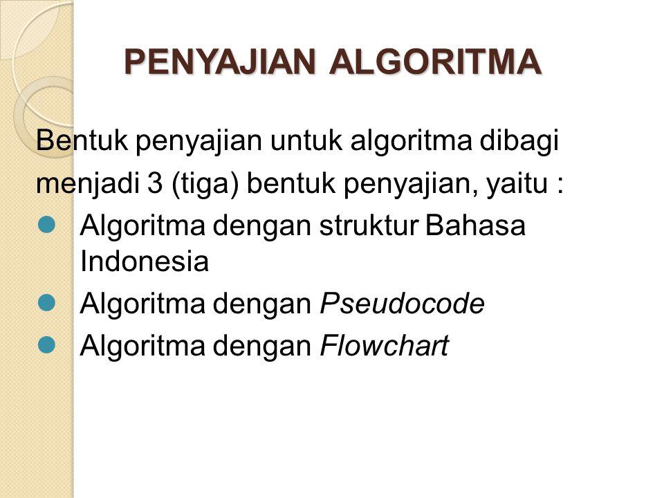 PENYAJIAN ALGORITMA Bentuk penyajian untuk algoritma dibagi
