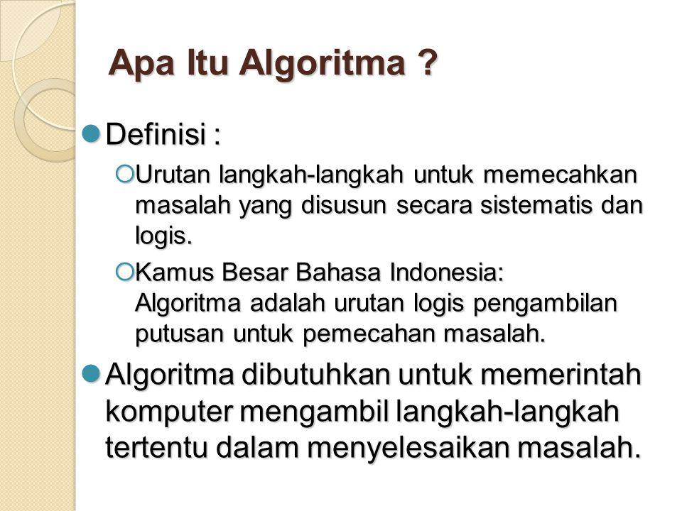 Apa Itu Algoritma Definisi :