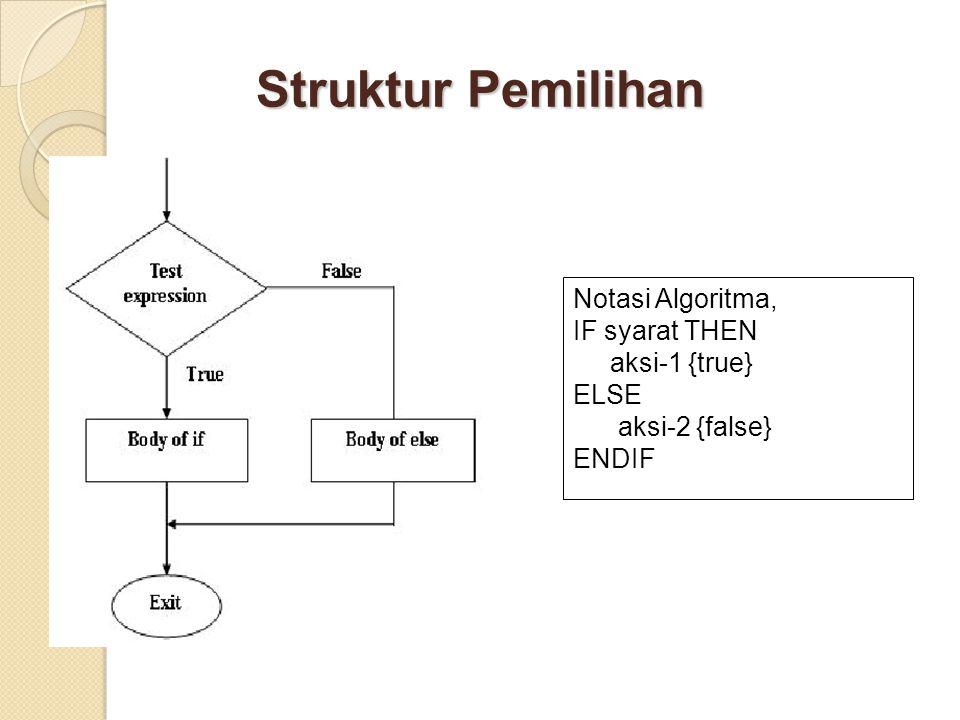 Struktur Pemilihan Notasi Algoritma, IF syarat THEN aksi-1 {true} ELSE