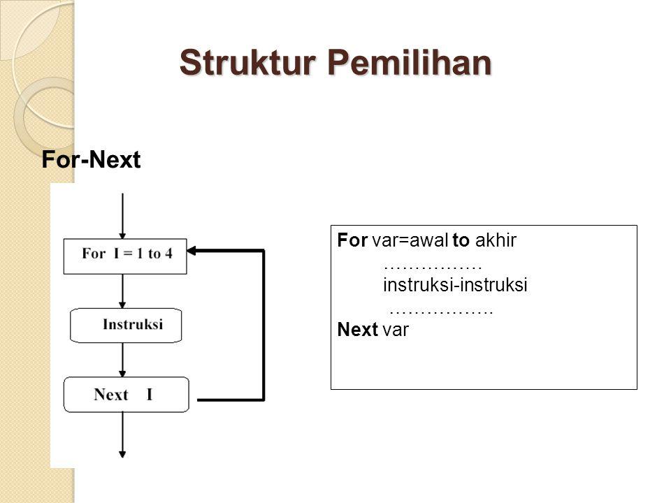 Struktur Pemilihan For-Next For var=awal to akhir …………….