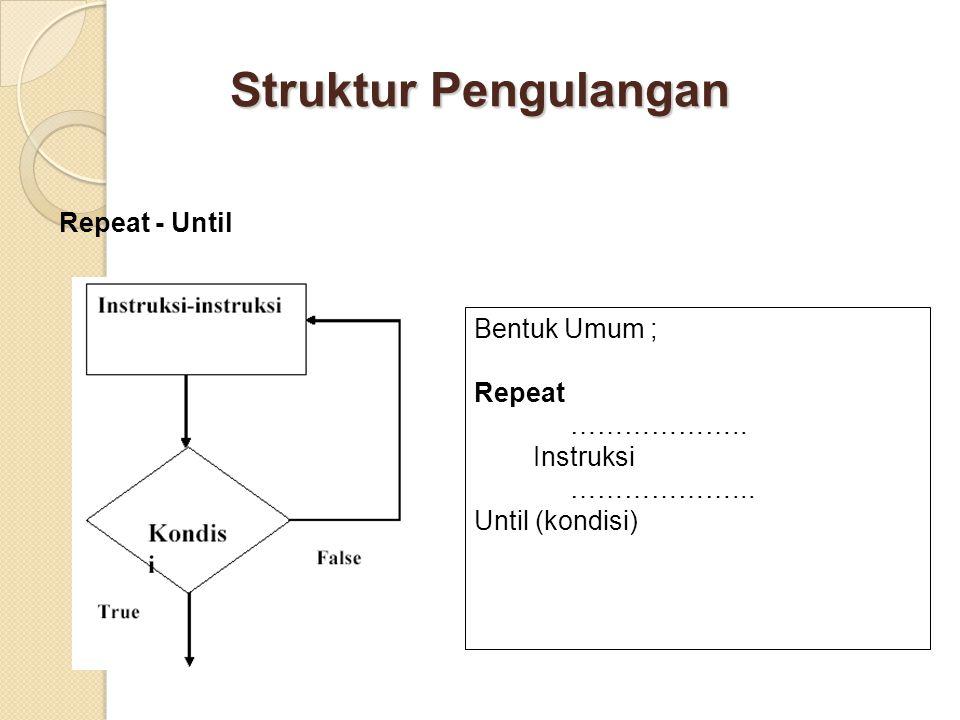 Struktur Pengulangan Repeat - Until Bentuk Umum ; Repeat ………………..