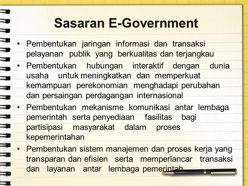 Sasaran E-Government Pembentukan jaringan informasi dan transaksi pelayanan publik yang berkualitas dan terjangkau.
