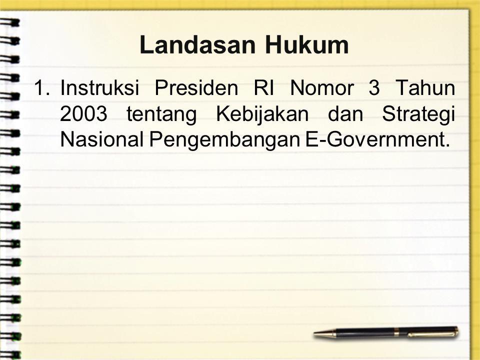 Landasan Hukum Instruksi Presiden RI Nomor 3 Tahun 2003 tentang Kebijakan dan Strategi Nasional Pengembangan E-Government.