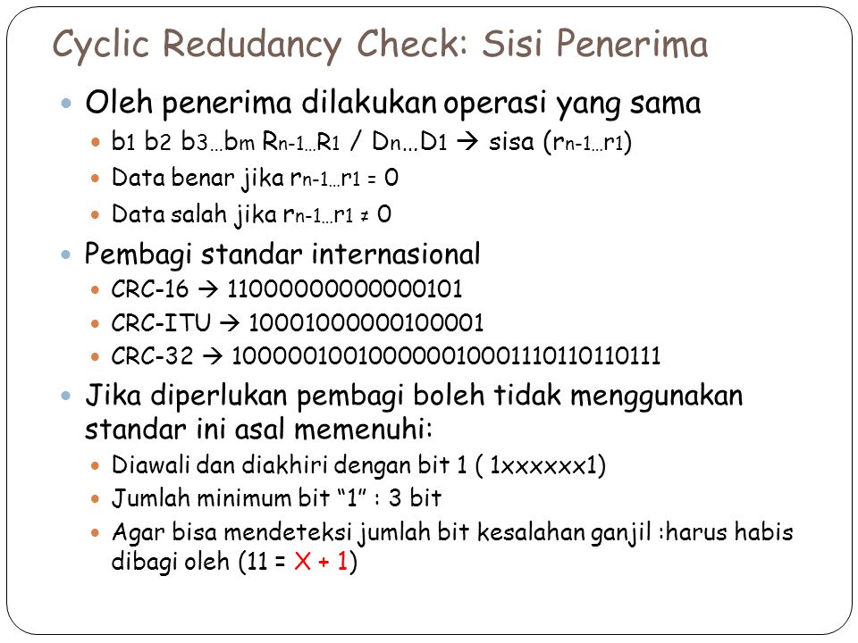 Cyclic Redudancy Check: Sisi Penerima