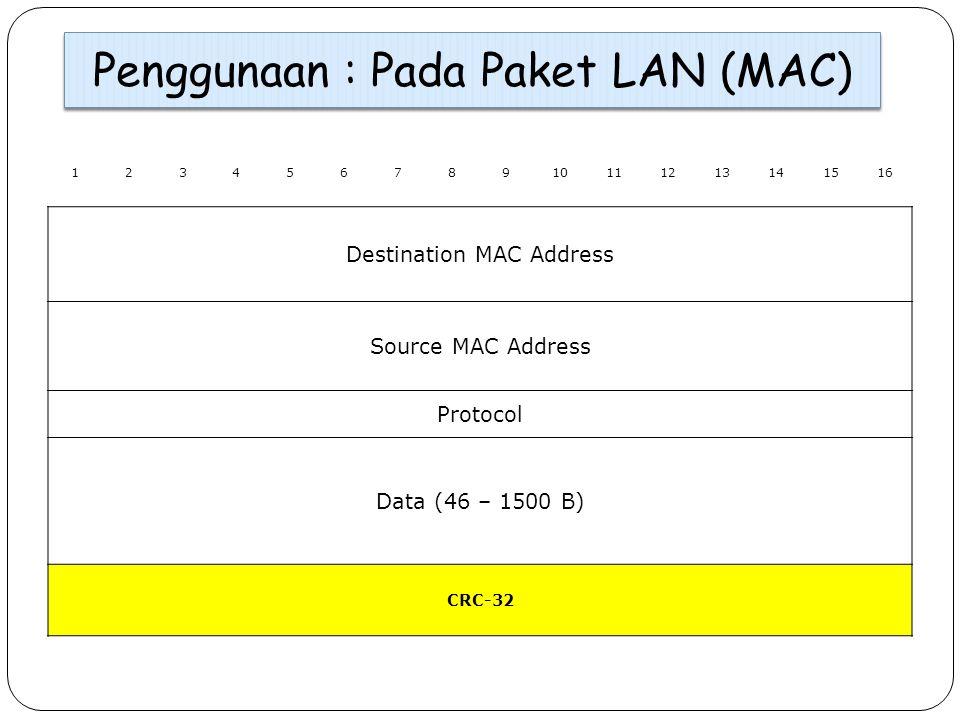 Penggunaan : Pada Paket LAN (MAC)
