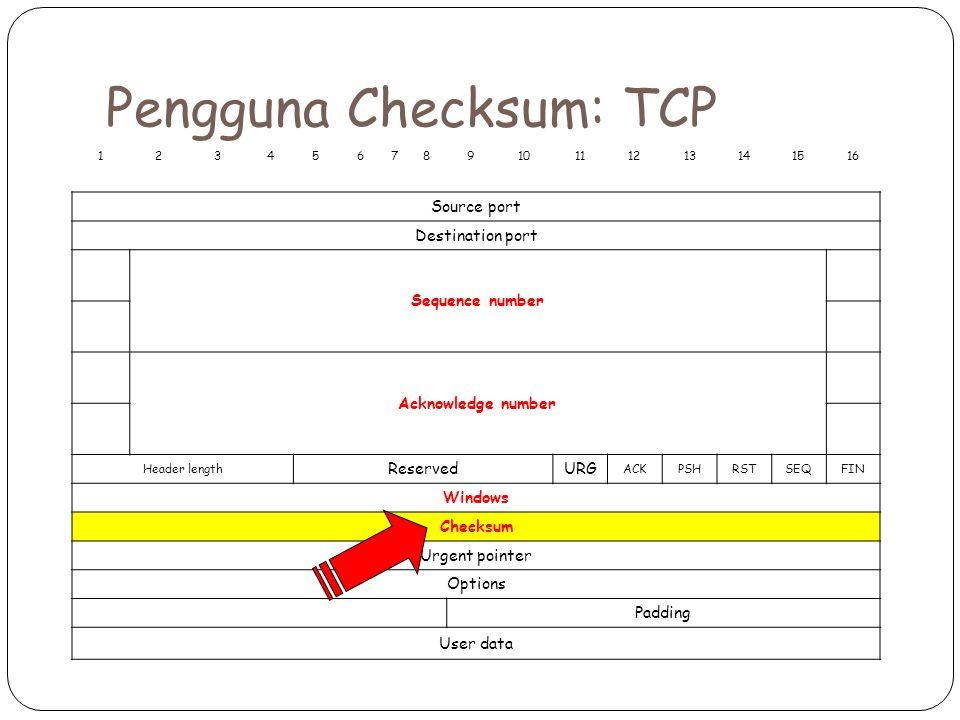 Pengguna Checksum: TCP