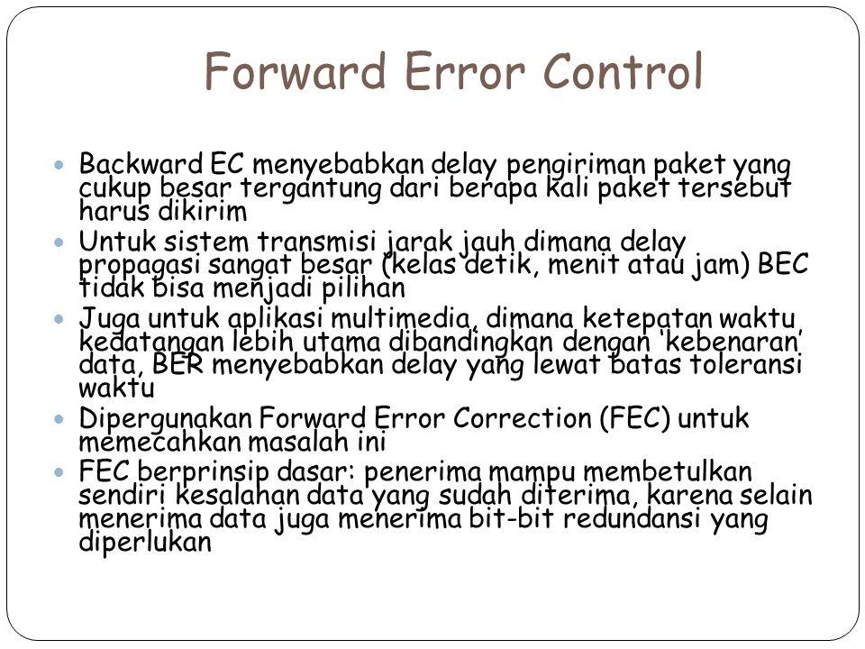 Forward Error Control Backward EC menyebabkan delay pengiriman paket yang cukup besar tergantung dari berapa kali paket tersebut harus dikirim.