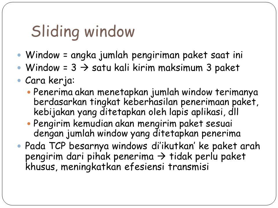 Sliding window Window = angka jumlah pengiriman paket saat ini