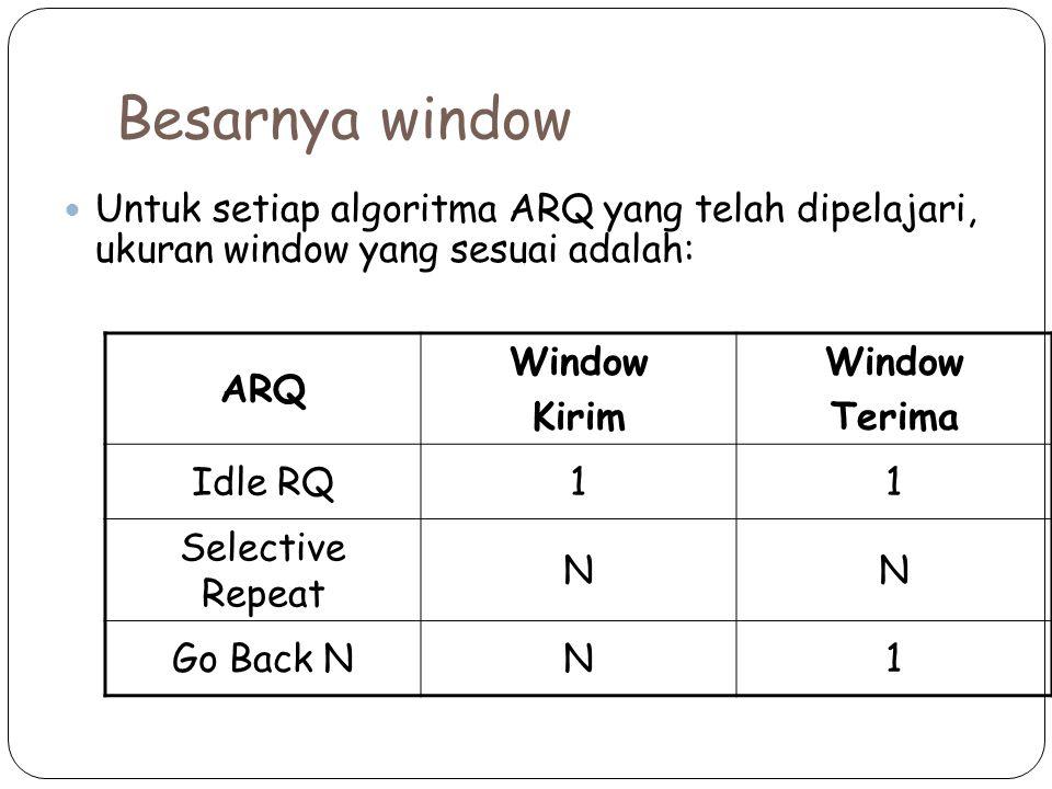 Besarnya window Untuk setiap algoritma ARQ yang telah dipelajari, ukuran window yang sesuai adalah: