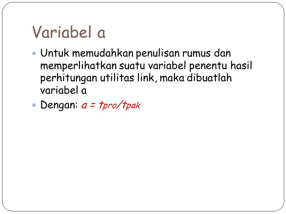 Variabel a Untuk memudahkan penulisan rumus dan memperlihatkan suatu variabel penentu hasil perhitungan utilitas link, maka dibuatlah variabel a.