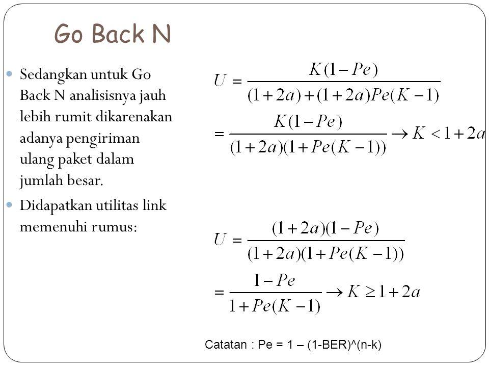 Go Back N Sedangkan untuk Go Back N analisisnya jauh lebih rumit dikarenakan adanya pengiriman ulang paket dalam jumlah besar.