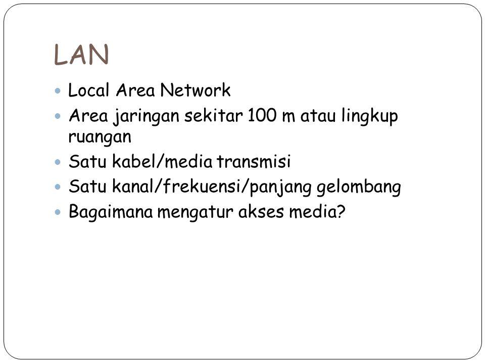 LAN Local Area Network. Area jaringan sekitar 100 m atau lingkup ruangan. Satu kabel/media transmisi.